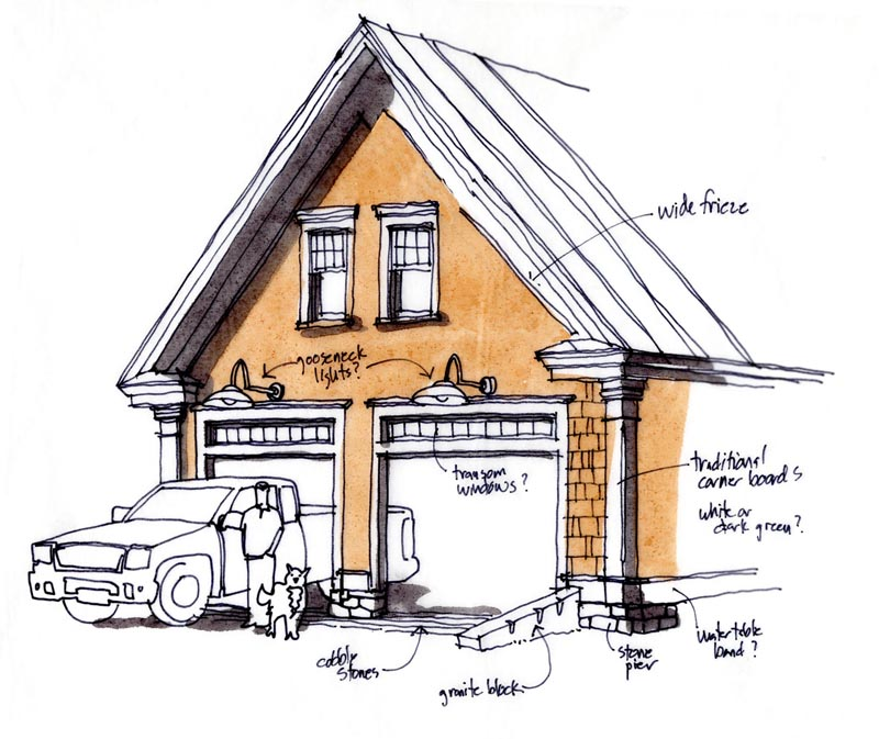 initial garage-barn sketch
