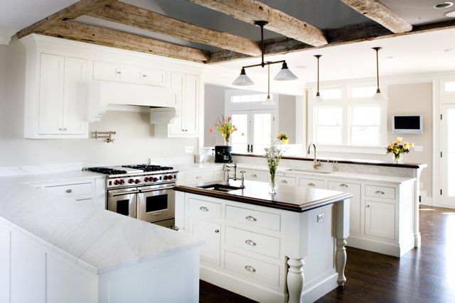 I Like It When People Mix Up Materials. Here We Have Beautiful Carrara  Marble On The Perimeter Countertops And Wood On The Island And Upper Bar.