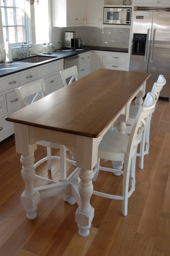 Island bench kitchen table afreakatheart for Kitchen island height
