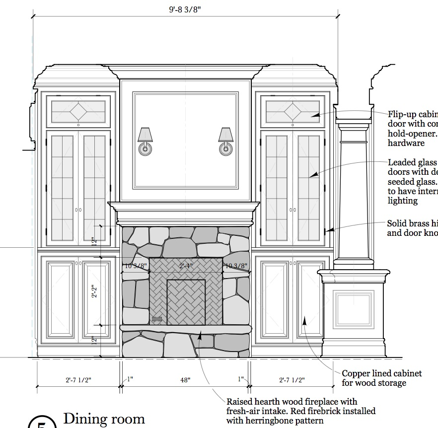 Blog archive interior elevations and millwork for Dining room elevation